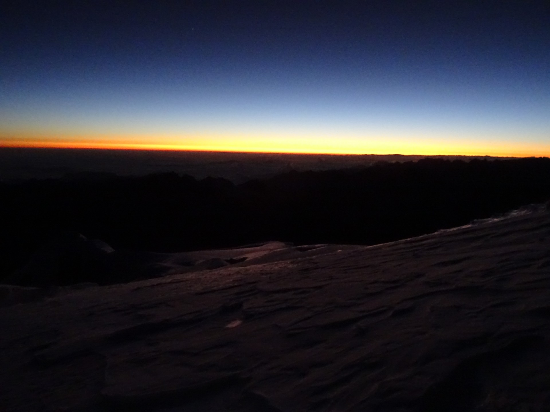 Sunrise before the final ascent.