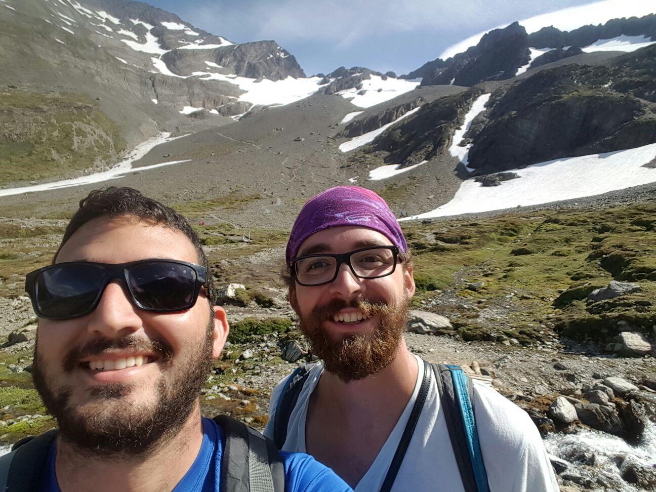 Halabi and I at the glacier. I think I need a shave.