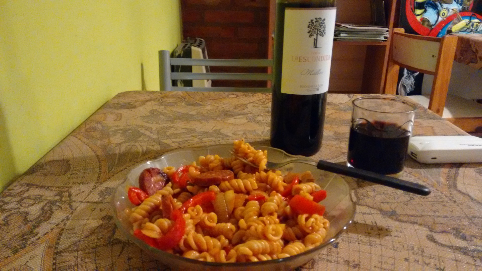 It's a typical evening dinner - with £2 wine!