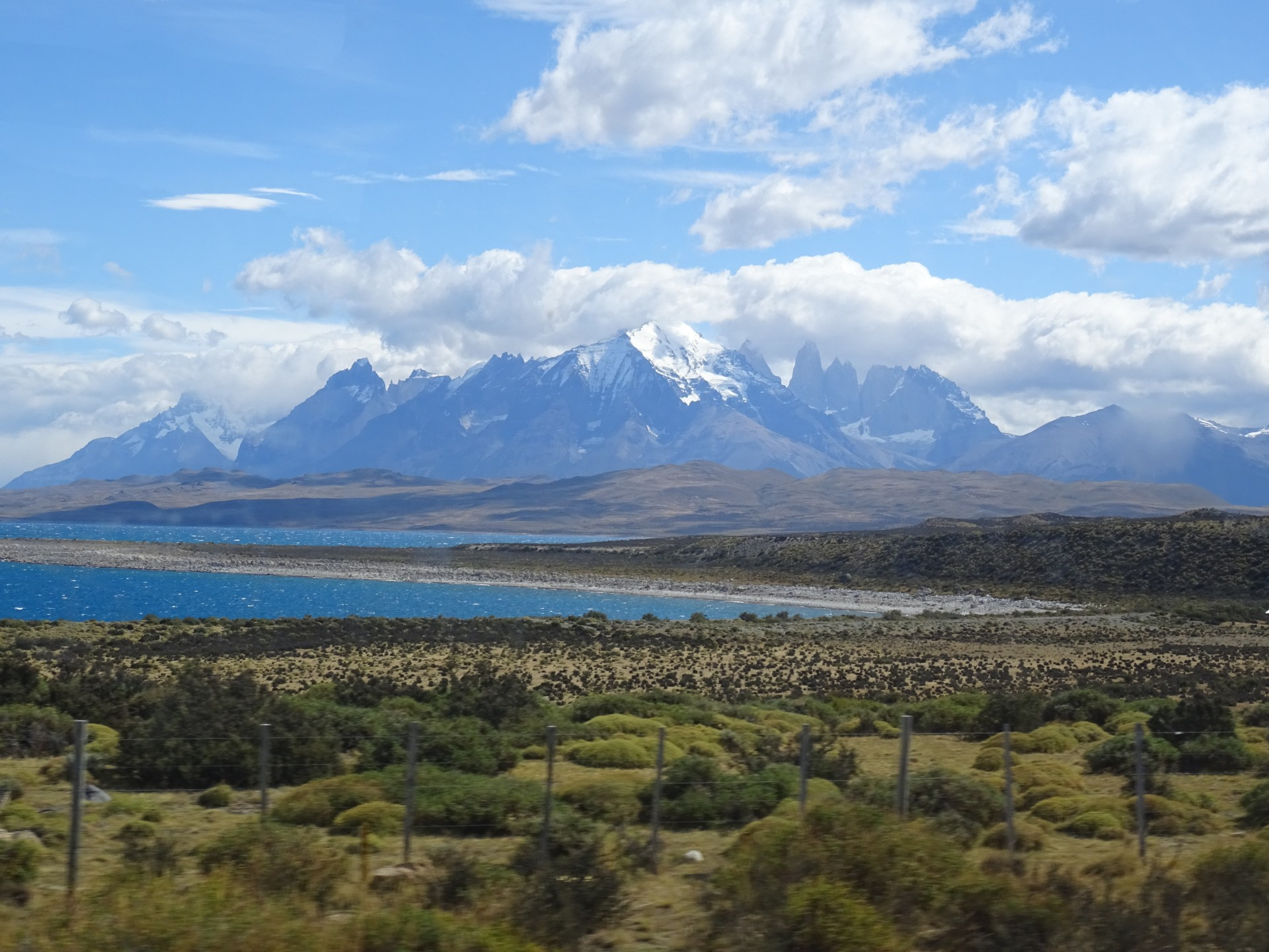 The Torres del Paine. On the way back when we could actually see through the windows.