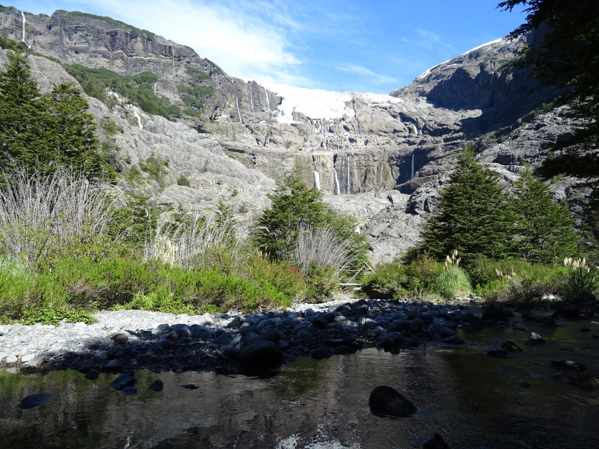A cascading glacier.
