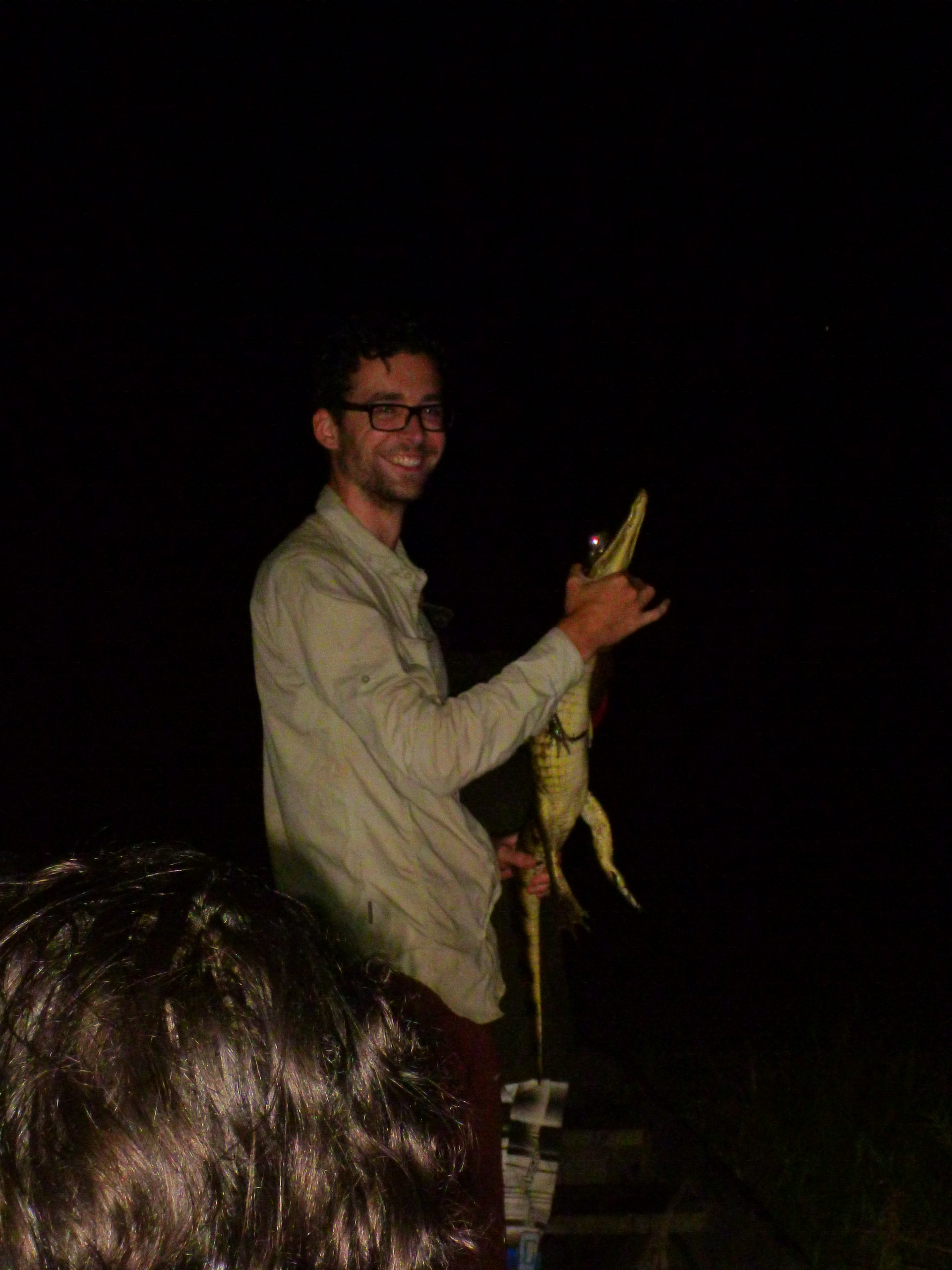 Aha! Finally a picture of a caiman. And me. Credit to Megan - thanks!