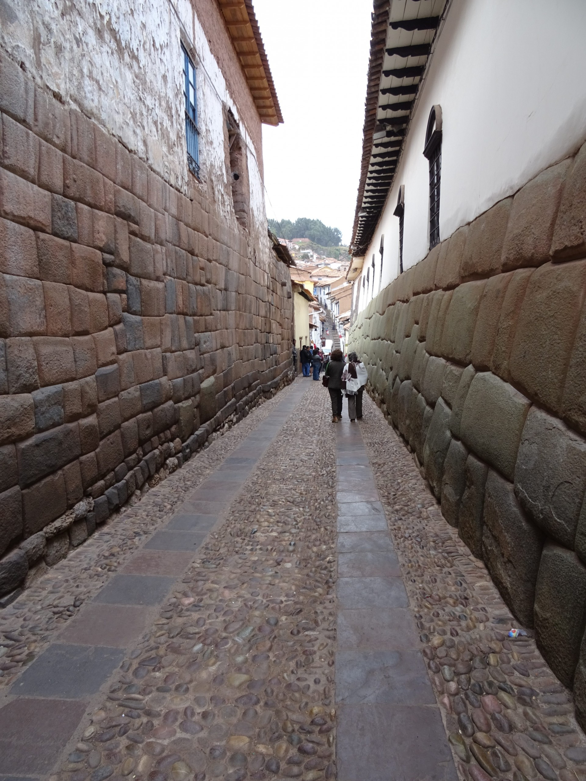 Beautiful Inca stonework under colonial walls.
