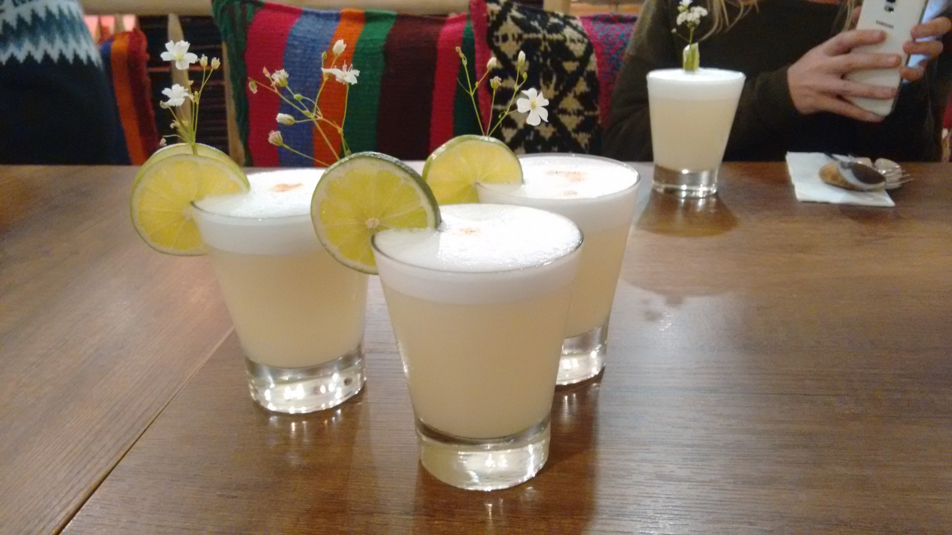 First Peruvian pisco sours. Not all for me.