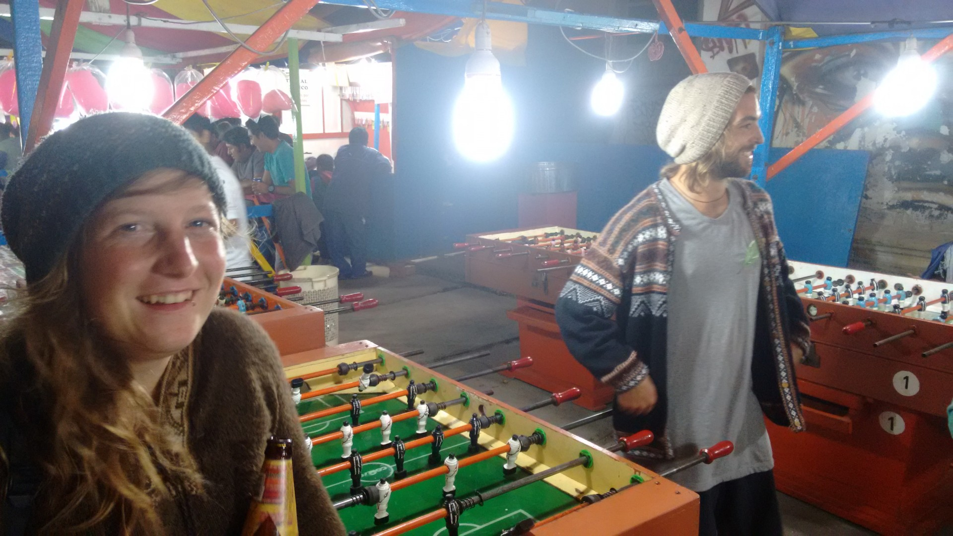 Foosball in Huanchaco. We were avidly followed by some very interested Peruvian kids.