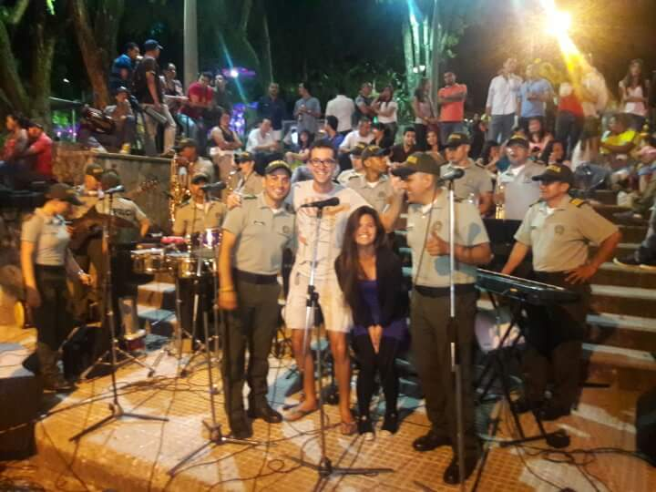 A Medellin police band. We had to get photos with these local celebrities.