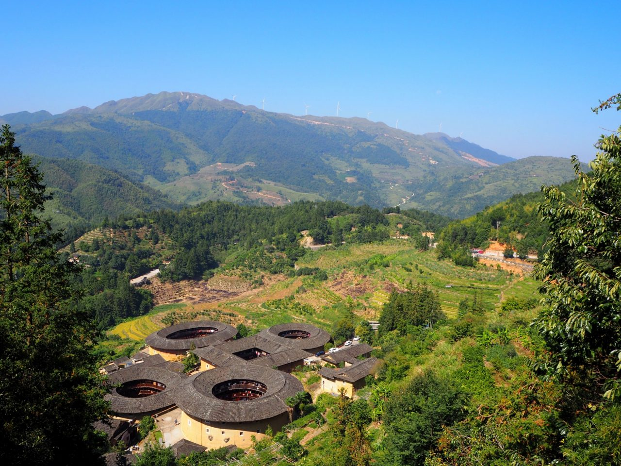 Tianluokeng Tulou Cluster From Above
